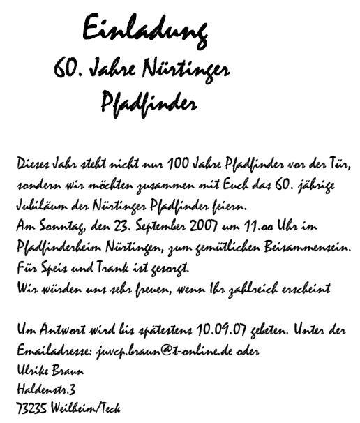 60 jahre nürtinger pfadfinder, Einladung